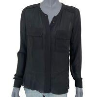 Wilfred Womens Black Silk Sheer Long Sleeve Crewneck Button-Down Blouse Top Sz S