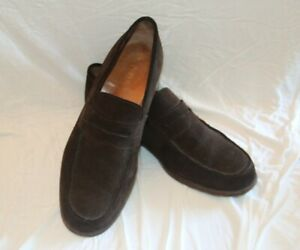 Prada Penny Loafers Men's Shoes Dark Brown Suede Size 12