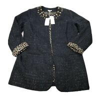 Chicos Womens Ani Glam Blazer Jacket Jeweled Cheetah Black Gold Size 1 $149