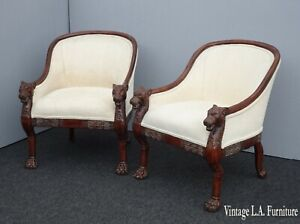 Pair of Vintage French Off White Club Chairs with Tiger Armrests & Claw Feet