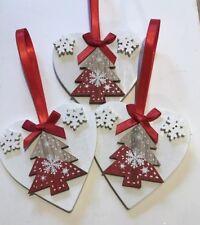 3 X Handmade Christmas Decorations Shabby Chic Wood Heart Tree Bows Red