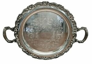 Vintage Round Silver Tray with Handles - Floral Border