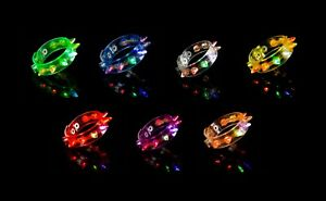 1-96 Spike Light Up LED Bracelets Flashing Glow Wrist Band Blinking Party Fun UK