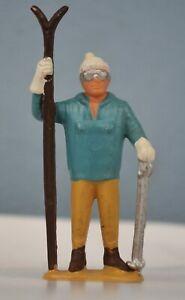 Vintage Skier Skiing Plastic Figurine