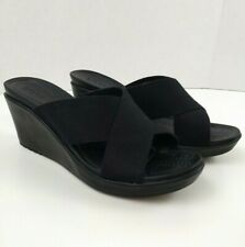 Women's 11 Crocs Leigh II Cross Strap Slide Wedge Heel Sandal Shoes Black