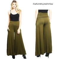 Green 70's Retro BOHO Haute Wide Bell Leg Foldover Hippie Palazzo Pants S M L XL