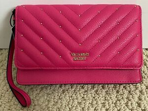 NWT Victoria's Secret Pink Chevron Quilted Gold Studded Flap Wristlet Clutch Bag