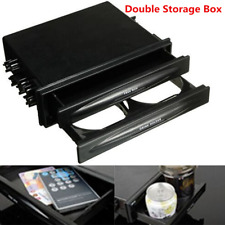 Car Auto Vehicle Double Din Radio Pocket Drink Cup Holder+Storage Box Tide