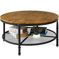 Best Choice Products 2-Tier Round Coffee Table, Rustic Steel Accent Table