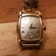 1951 Bulova Belmont mens Vintage watch keeps good time guilded Arabic, vg cond.