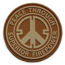 3D PVC Peace Through Superior Firepower Morale Miitary Tactical Biker Patch Tan