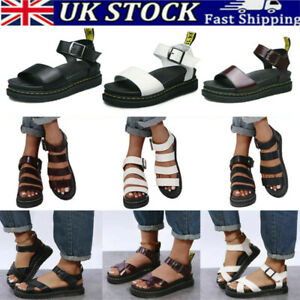 Womens Ladies Summer Ankle Strap Sandals Flat Chunky Heel Platform Shoes Size
