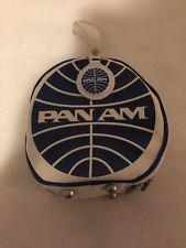 PAN AM Wash bag purse handbag vanity Toiletry Round Blue And White Retro Vintage