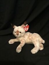 "Ty Beanie Babies 2001 Tracks Lynx Cat Stuffed Animal Plush Kitten 9"" with Tag"