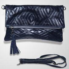 Clutch Abendtasche Schultertasche Ledertasche Umhängetasche Handtasche Blau