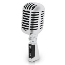 Retro Vintage Style Microphone with 15ft XLR Cable Old Fashion Steel Mic Silver
