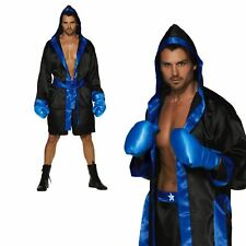 Adult Mens Boxing Boxer Fighter Sports Champion Robe Gloves Fancy Dress Costume