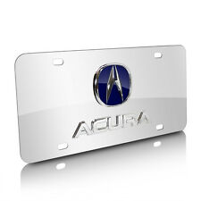Acura 3D Blue Logo and Name on Chrome Stainless Steel Metal Auto License Plate