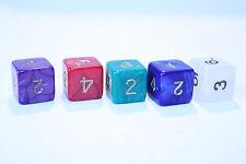 5 Würfel 6-seitig pearl mit Zahlen Spielewürfel Spielezubehör D6 W6