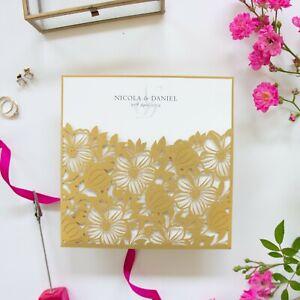 GOLD FLORAL LASER CUT WEDDING INVITATIONS BLANK INSERTS DIY SET FREE ENVELOPES