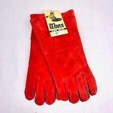 Vintage Wild Horse Mens Gloves Red Suede Work Gloves Welding Fireplace New