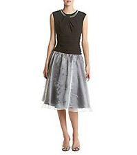 SL FASHIONS Black Silver HOLIDAY Dress SZ 10, PEARL Trim Beaded, NWT MSRP $100