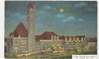 St. Louis, MO Vintage Postcard Union Station At Night - Postmarked 1949 train