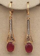 """18K Yellow Gold Filled 1.7"""" Court Earrings Ruby Gems Topaz Hollow Dangle Chain"""
