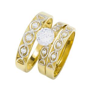 14k Two Tone Gold Round Cubic Zirconia Bridal Wedding Trio Ring Set (0.99 cttw)