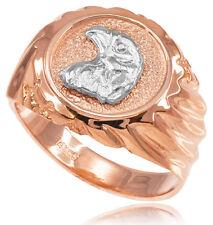 10k Solid Rose Gold Eagle Head Men's Ring