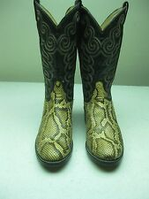VTG USA TONY LAMA  BLACK LABEL COWBOY WESTERN ROCKABILLY SNAKE SKIN BOOT 10.5 B