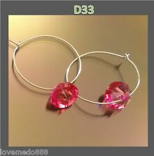 New ladies fashion trend 2.5 CM RING 1 CM DK. PINK CLEAR BEAD hook earrings #D33