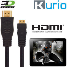 Kurio 7, 10 Kids Android Tablet PC HDMI Mini to HDMI TV 3m Gold Lead Wire Cable