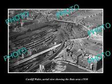 Old Large Historic Photo Of Cardiff Wales, Aerial View Of The Bute Area c1930
