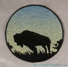 Embroidered Buffalo Bison Sunrise Silhouette Ombre Circle Patch Iron On Sew USA