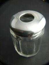 Antique Crystal Sterling Silver Hat Pins Jar  Birmingham  Vintage C.1912 Gift