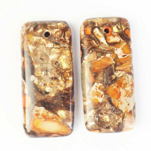 2Pcs Orange Sea Sediment Jasper&Gold Copper Bornite Oblong Pendant R15199