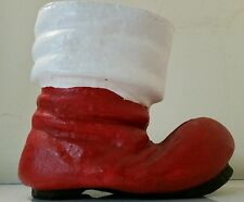 Vtg Santa Boot Planter paper mache Hand painted 7 inch