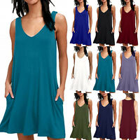 Women Sleeveless Summer Plain Long Tops Loose Pocket Jersey Swing T-Shirt Dress