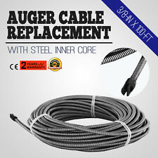 """100 Ft Drain Auger Cable Replacement Cleaner Snake Clog Pipe Sewer Wire 3/8"""""""