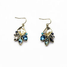 Noble Triangle Dangle Antique Brass Shiny Colorful Irregular Stone Lady Earrings