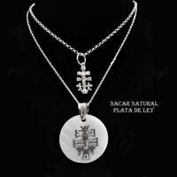 2 COLLARES COLGANTES CRUZ DE CARAVACA. PLATA de LEY  Collar doble 40 y 45 cm