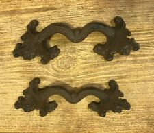 """Ornate Cast Iron Rustic Brown Leaf 6 1/2"""" Drawer Pull (Set of Two) 021-52378"""