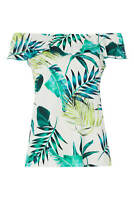 Roman Originals Women Leaf Print Bardot Short Sleeve Top