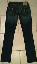 Womens TRUE RELIGION Billy SKINNY STRAIGHT ~Flap Pocket Dark Sz 25 (x33) GREAT!