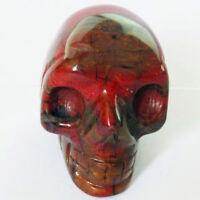 Carved Red Jasper Pendant Bead Skull PJ0661