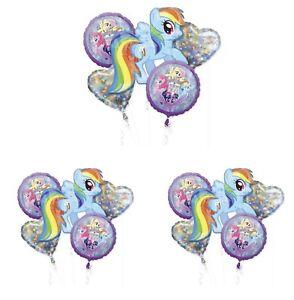 My Little Pony Rainbow Dash Birthday Foil 5pcs Balloons Bouquet Lot Of 3
