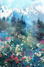 Dimensions MOUNTAIN MEADOW No Count Cross Stitch Kit Spring Wildflowers Snow New