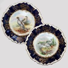 PAIR (2) Antique c.1860s Minton Hand Painted Game Plates, Raised Gold Enamel