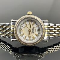 Vtg Ducks Unlimited Womens Watch Gold Silver Plate Link Bracelet Limited Edition